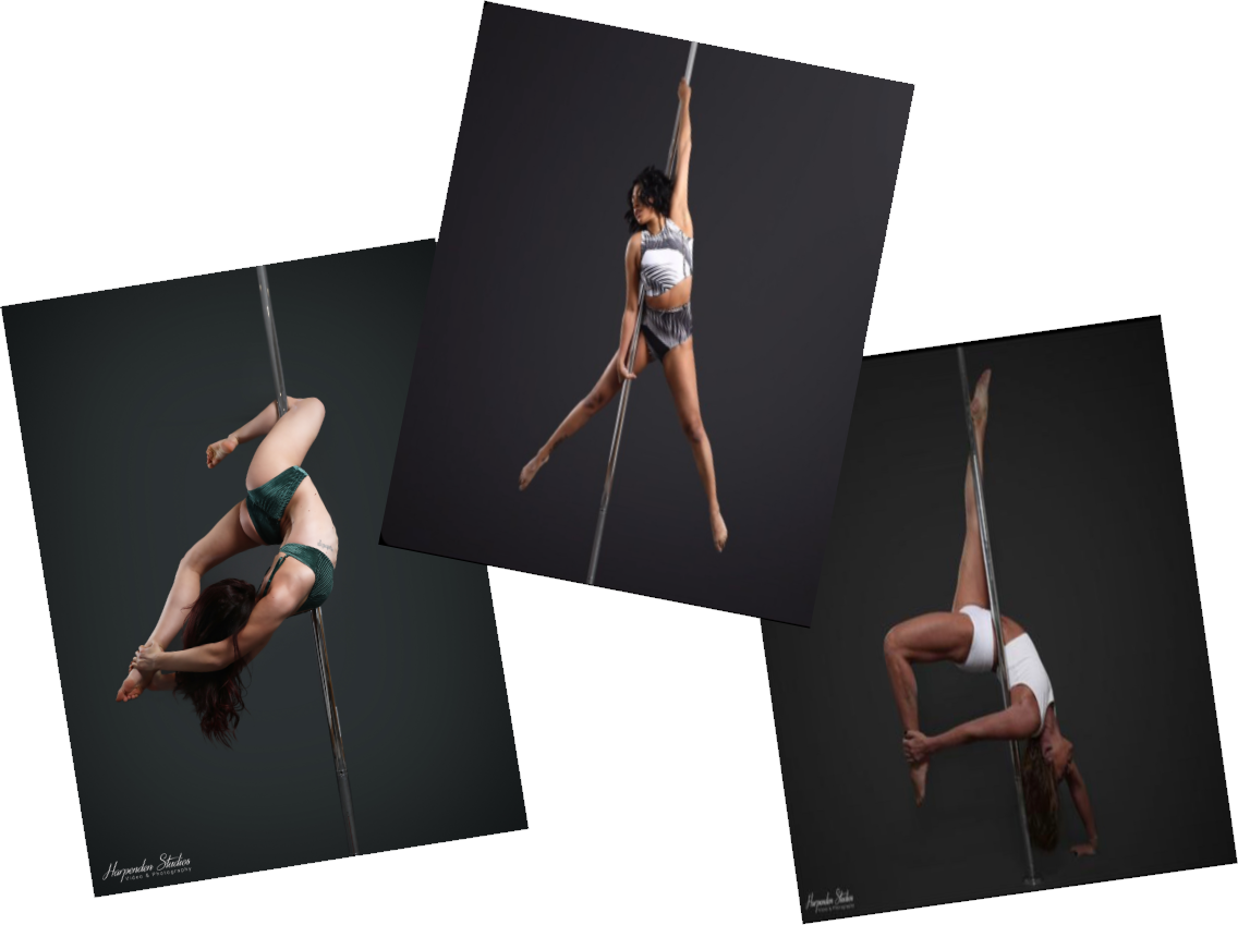 Three women holding three different pole fitness poses during classes at The Pole Hub in Reading