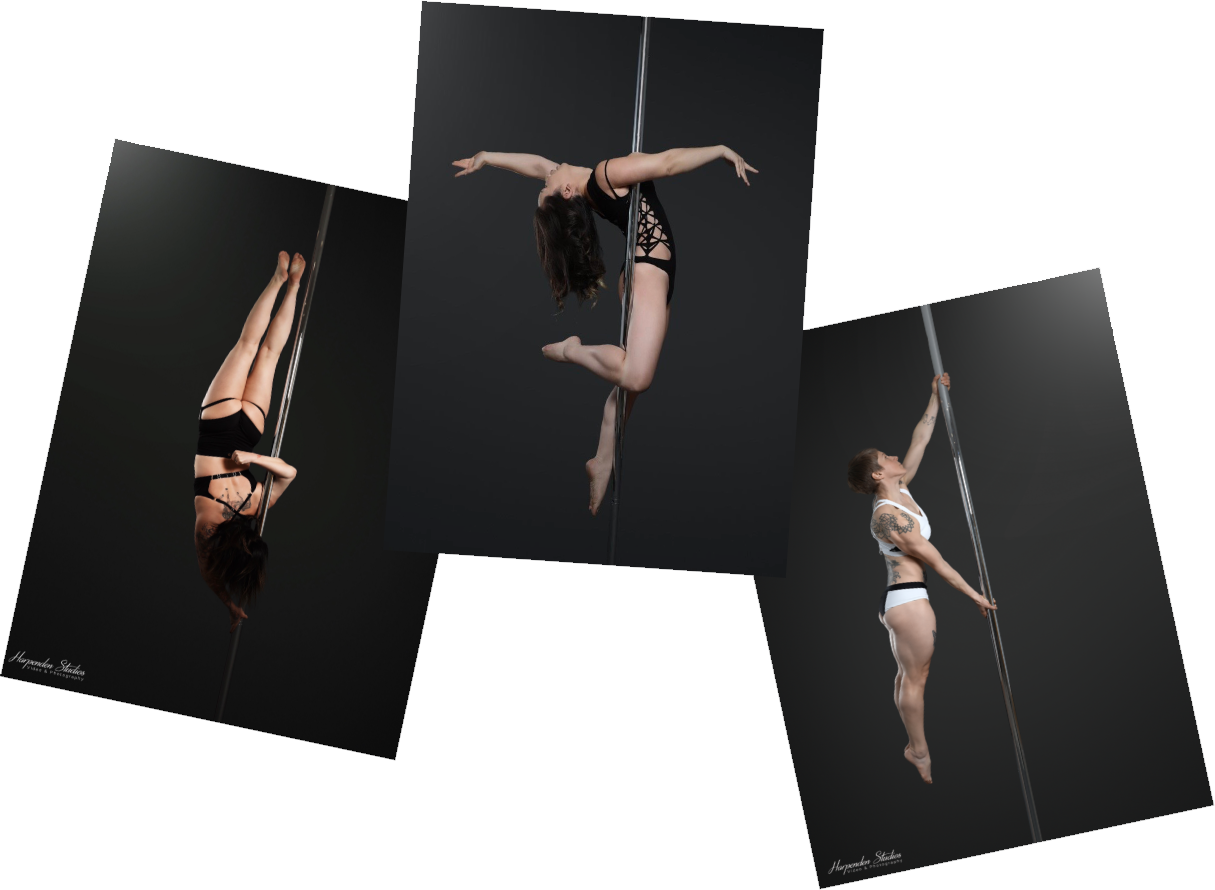 Three women holding three different pole fitness poses during classes at The Pole Hub in Wandsworth