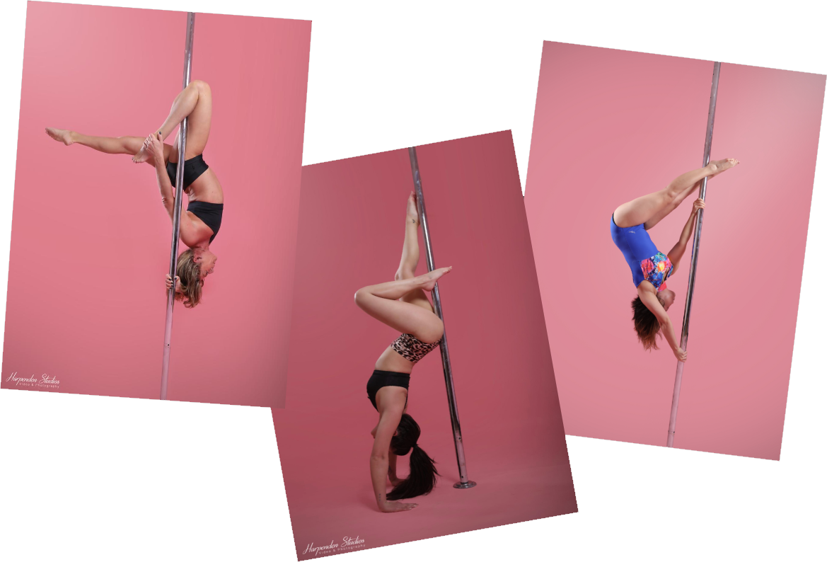 Three women holding three different pole fitness poses during classes at The Pole Hub in Woking
